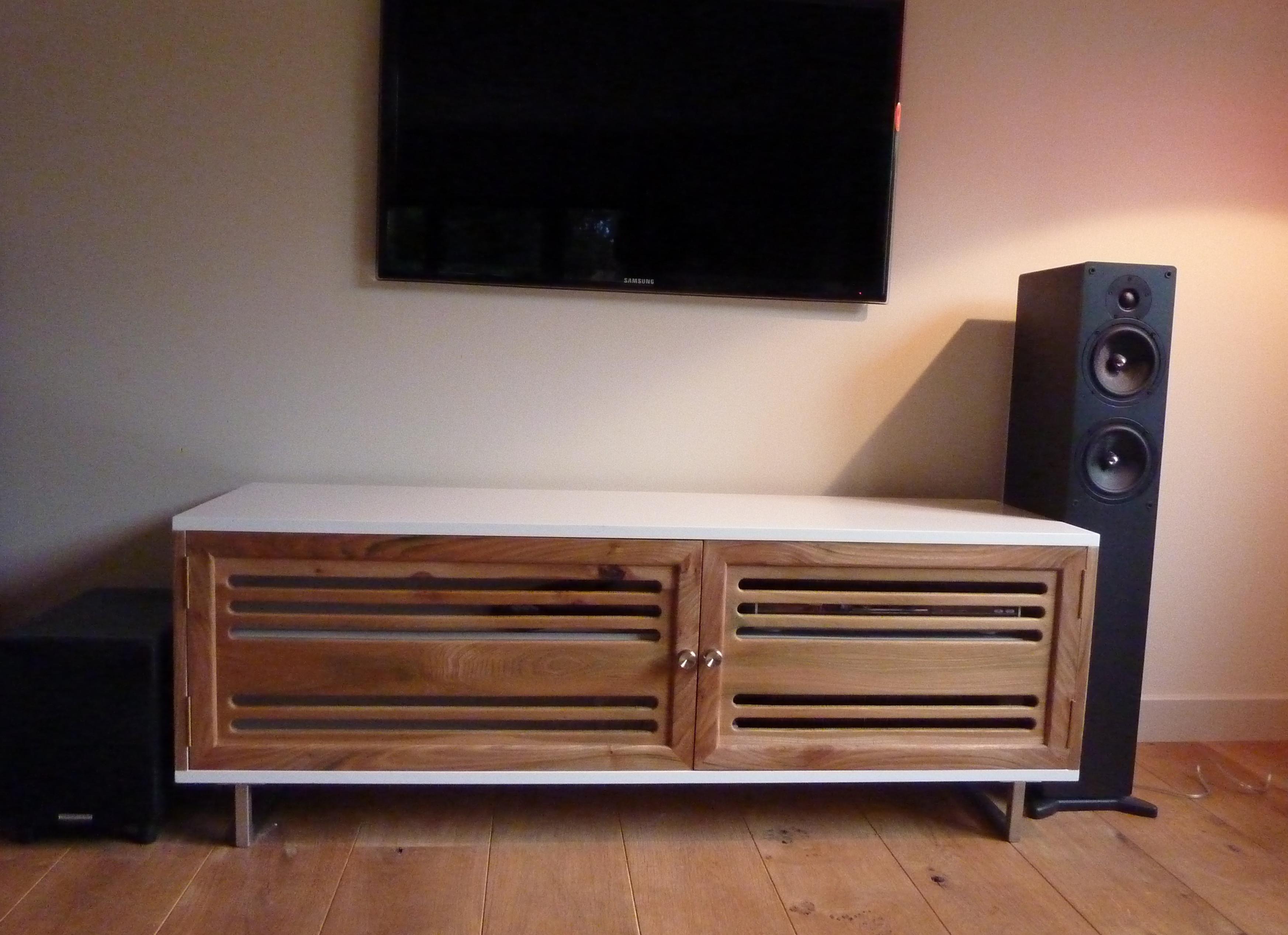 White Lacquer & Elm AV Unit | Susan Harper Furniture