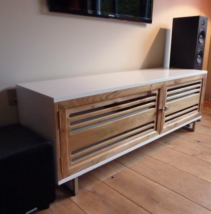 White Lacquer & Elm AV Unit