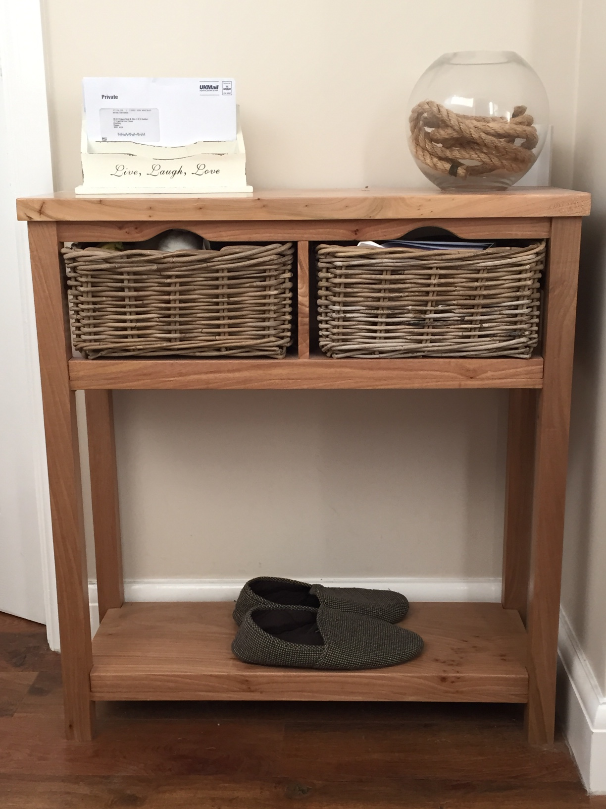 Superior Elm Console Table With Wicker Basket Drawers.